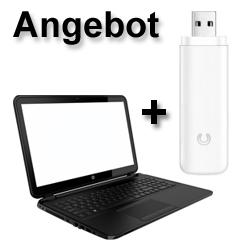 Laptop mit Surfstick + Datenflatrate